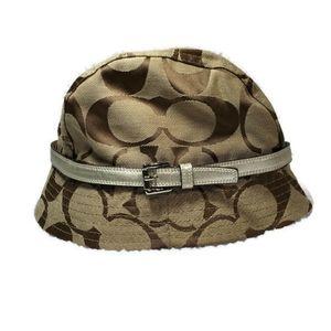 Coach Signature Monogram Brown/Tan Bucket Hat M/L